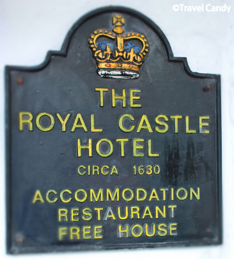 Sign at the Royal Castle Hotel, Dartmouth, Devon