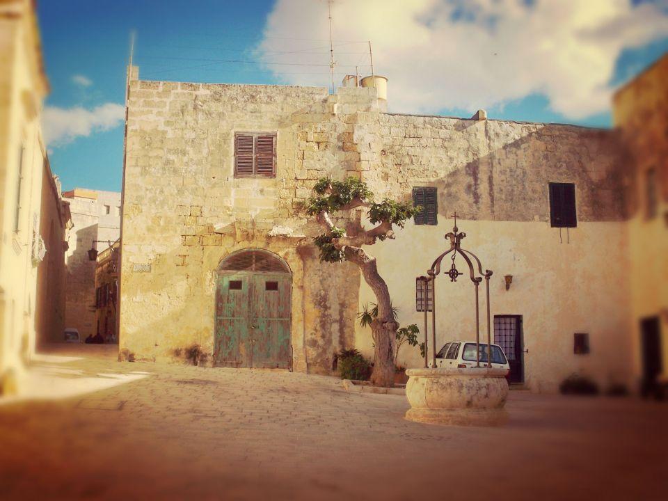 Traditional piazza in Mdina, Malta
