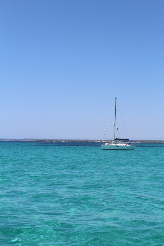 A yacht at Es Carbó beach, Majorca