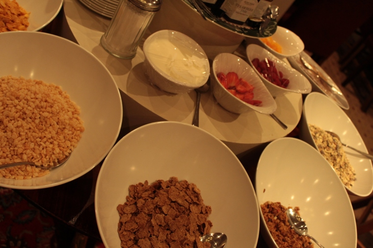 Delicious breakfast choices at the Luttrell Arms Hotel in Dunster